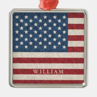 Patriotische amerikanische Flagge personalisiert Quadratisches Silberfarbenes Ornament