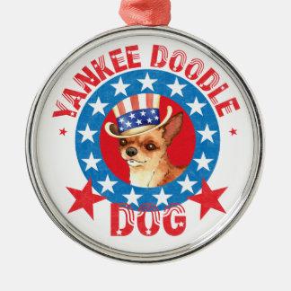 Patriotische Chihuahua Silbernes Ornament
