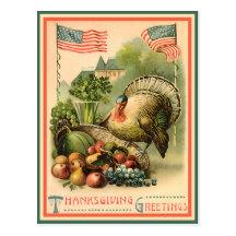 Patriotische Erntedank-Postkarte