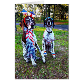 Patriotische Feier-Party-Hunde-u. Feuerwerk-Karte Karte