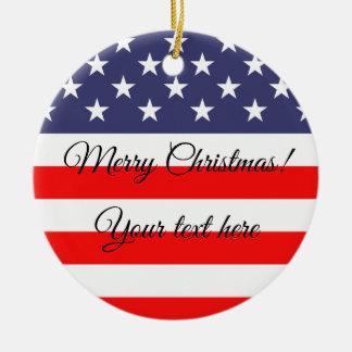 Patriotische Flagge-Weihnachtsbaumverzierung Keramik Ornament
