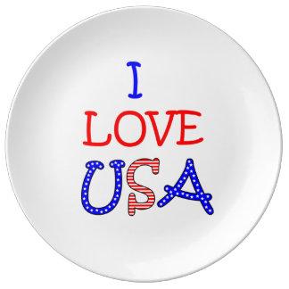 Patriotische i-Liebe USA Porzellanteller