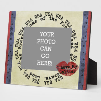 Patriotische Liebe mein Kuss USA Soldatvalentines Fotoplatte