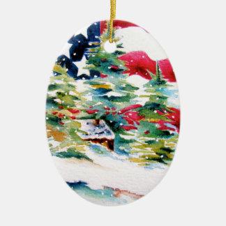 Patriotische ovale Flagge-Verzierung Keramik Ornament