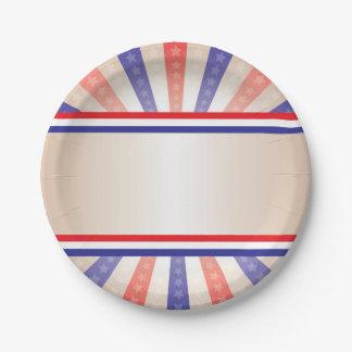 Patriotische Papierplatten-Vintage Fahne Pappteller