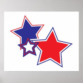 Patriotische rote weiße blaue Sterne Poster