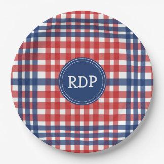 Patriotische rote weiße und blaue karierte pappteller