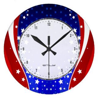 Patriotische Sterne u. Streifen-abstrakte Große Wanduhr