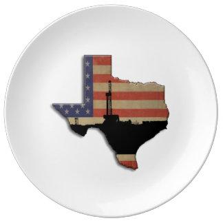 Patriotische Texas-Erdölbohrungs-Anlage Porzellanteller