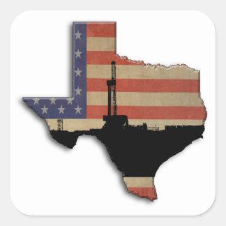 Patriotische Texas-Erdölbohrungs-Anlage Quadratischer Aufkleber