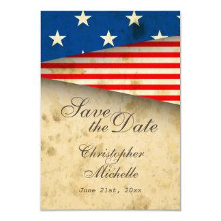 Patriotische US-Flagge Vintages Wedding Save the Karte