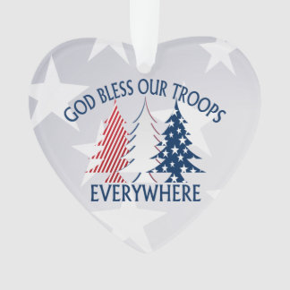 Patriotische Weihnachtsbäume und Gebet Ornament