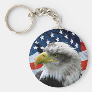 Patriotische Weißkopfseeadler-amerikanische Flagge Standard Runder Schlüsselanhänger
