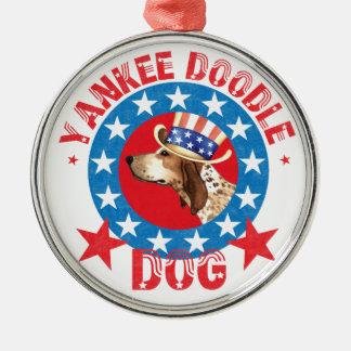 Patriotischer amerikanisches EnglischCoonhound Silbernes Ornament