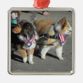 Patriotischer Collie verfolgt Verzierung Silbernes Ornament