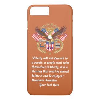 Patriotischer Freiheits-Frieden rotbraun iPhone 8 Plus/7 Plus Hülle