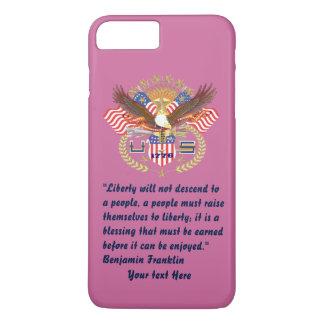 Patriotischer Freiheits-Friedensstaubige Rose iPhone 8 Plus/7 Plus Hülle