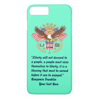 Patriotischer Freiheits-FriedensTürkis iPhone 8 Plus/7 Plus Hülle