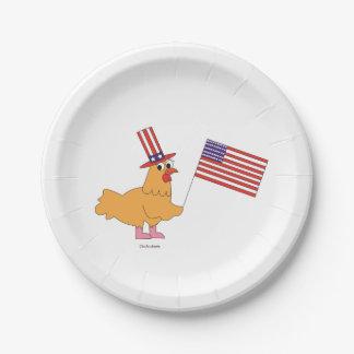 Patriotischer Huhn-Papier-Teller Pappteller 17,8 Cm