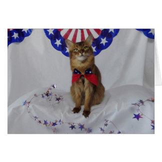 Patriotischer Kitty für amerikanischen Grußkarte