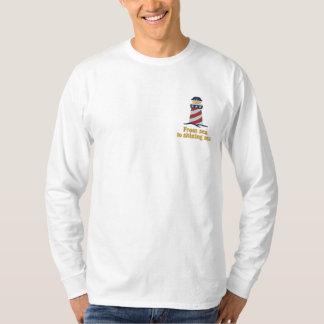 Patriotischer Leuchtturm USA Besticktes Langarmshirt