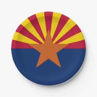 Patriotischer Pappteller mit Flagge von Arizona