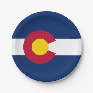 Patriotischer Pappteller mit Flagge von Colorado
