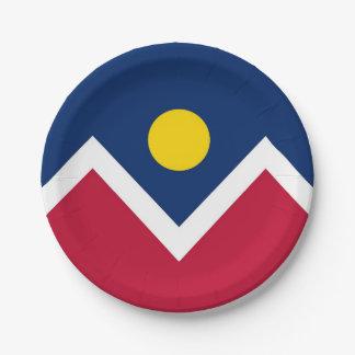 Patriotischer Pappteller mit Flagge von Denver