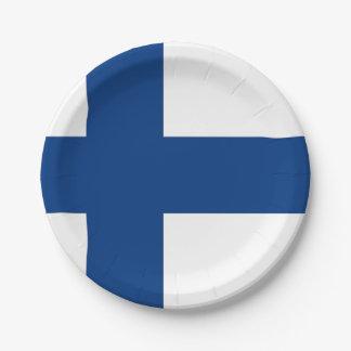 Patriotischer Pappteller mit Flagge von Finnland