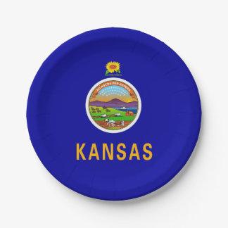 Patriotischer Pappteller mit Flagge von Kansas