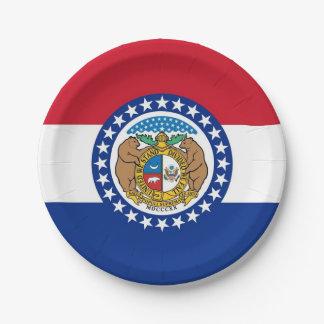 Patriotischer Pappteller mit Flagge von Missouri
