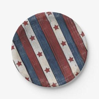 Patriotischer roter weißer blauer Pappteller