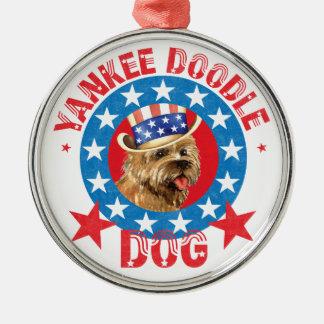 Patriotischer Steinhaufen Terrier Silbernes Ornament