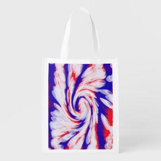 Patriotischer Strudel abstrakt Wiederverwendbare Einkaufstasche