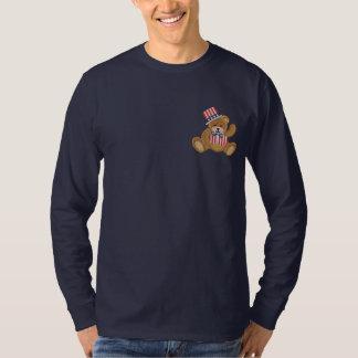 Patriotischer USA-Teddybär Besticktes Langarmshirt