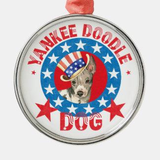 Patriotisches amerikanisches unbehaartes Terrier Silbernes Ornament