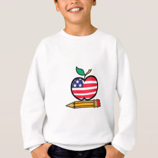 Patriotisches Apple u. Bleistift Sweatshirt
