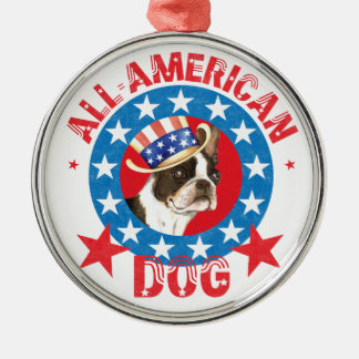 Patriotisches Boston Terrier Silbernes Ornament