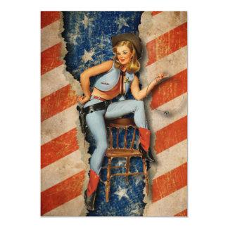 Patriotisches freches Cowgirl-am 4. Juli Party 12,7 X 17,8 Cm Einladungskarte