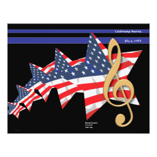 Patriotisches Musik-Programm kundengerecht 21,6 X 27,9 Cm Flyer