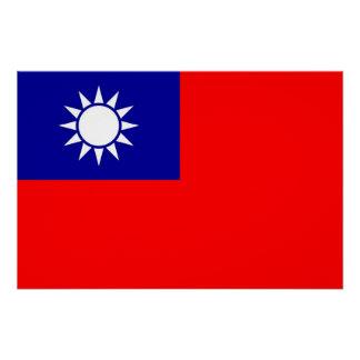 Patriotisches Plakat mit Flagge von Taiwan Poster
