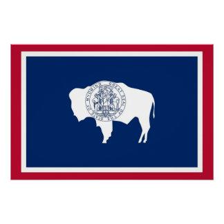 Patriotisches Plakat mit Flagge von Wyoming Poster