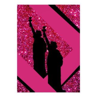 Patriotisches rosa Freiheitsstatue funkelnd Poster