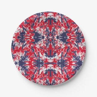 Patriotisches Rot-, weißes und Blauesabstraktes Pappteller