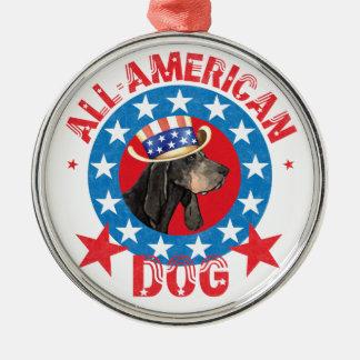Patriotisches Schwarzes und TANCoonhound Rundes Silberfarbenes Ornament