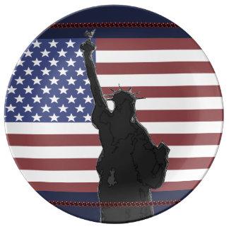 Patriotisches USA-Flagge-Freiheitsstatue Kunst Teller