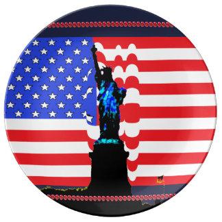 Patriotisches USA-Freiheitsstatue Sterne u. Teller