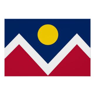 Patriotisches Wandplakat mit Flagge von Denver Poster