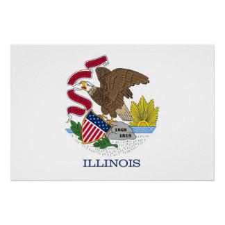 Patriotisches Wandplakat mit Flagge von Illinois Poster