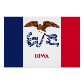 Patriotisches Wandplakat mit Flagge von Iowa Poster